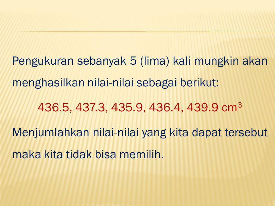 Pengukuran sebanyak 5 (lima) kali mungkin akan menghasilkan nilai-nilai sebagai berikut: 436.5, 437.3, 435.9, 436.4, 439.9 cm 3 Menjumlahkan nilai-nilai yang kita dapat tersebut maka kita tidak bisa memilih.