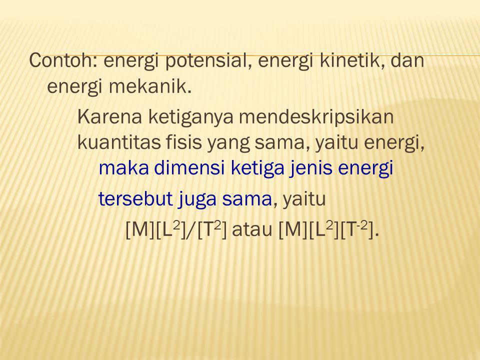 Dimensi merupakan salah satu bentuk deskripsi suatu besaran misalnya: panjang memiliki dimensi [L], massa [M], dan waktu [T]. Besaran fisis apapun bil