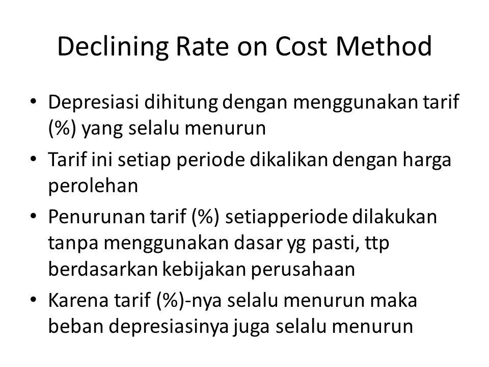 Declining Rate on Cost Method Depresiasi dihitung dengan menggunakan tarif (%) yang selalu menurun Tarif ini setiap periode dikalikan dengan harga perolehan Penurunan tarif (%) setiapperiode dilakukan tanpa menggunakan dasar yg pasti, ttp berdasarkan kebijakan perusahaan Karena tarif (%)-nya selalu menurun maka beban depresiasinya juga selalu menurun
