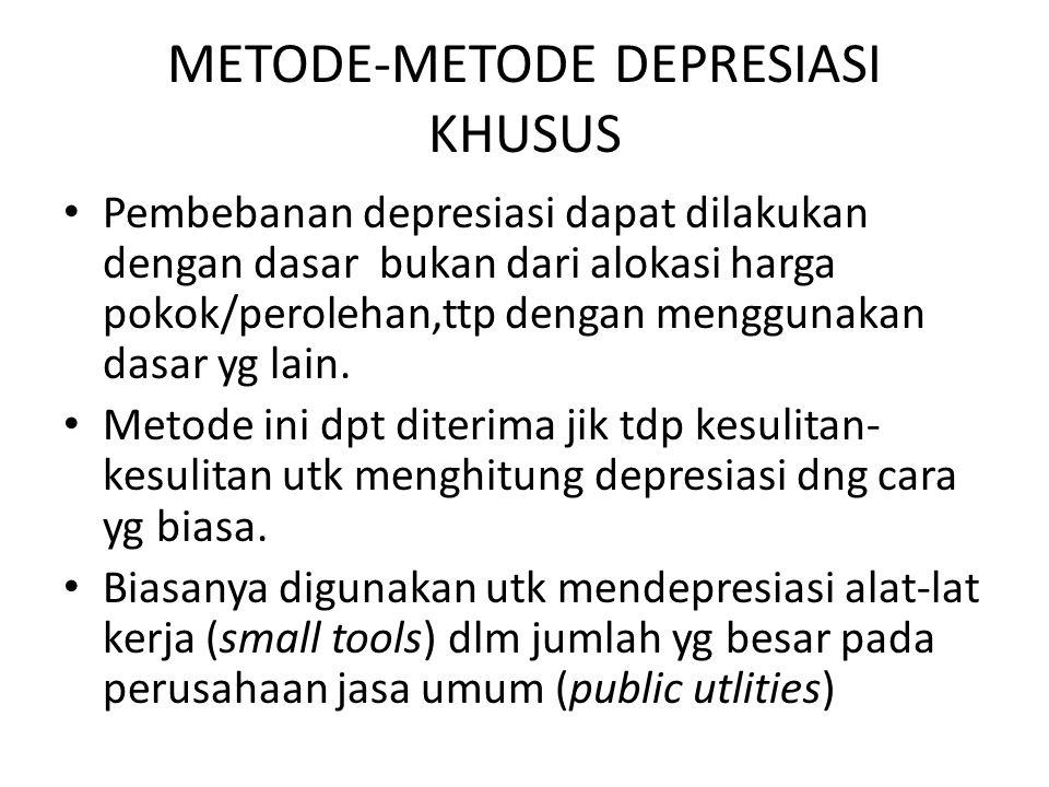 METODE-METODE DEPRESIASI KHUSUS Pembebanan depresiasi dapat dilakukan dengan dasar bukan dari alokasi harga pokok/perolehan,ttp dengan menggunakan dasar yg lain.