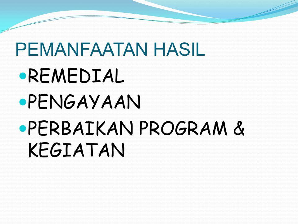 PEMANFAATAN HASIL REMEDIAL PENGAYAAN PERBAIKAN PROGRAM & KEGIATAN