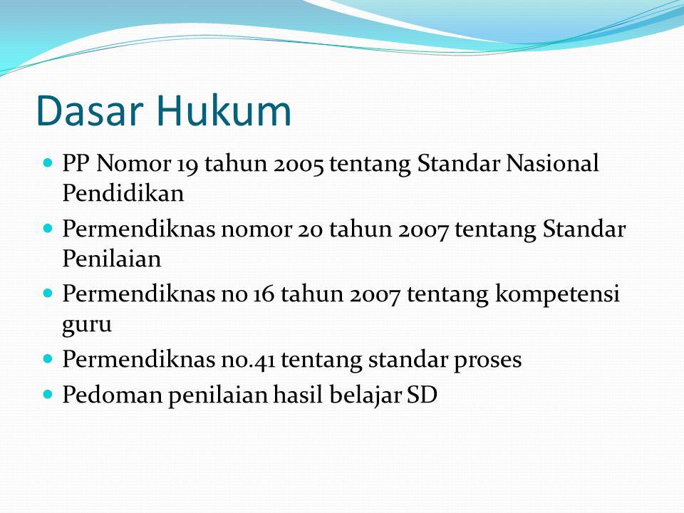 Dasar Hukum PP Nomor 19 tahun 2005 tentang Standar Nasional Pendidikan Permendiknas nomor 20 tahun 2007 tentang Standar Penilaian Permendiknas no 16 tahun 2007 tentang kompetensi guru Permendiknas no.41 tentang standar proses Pedoman penilaian hasil belajar SD