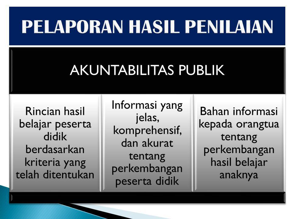 AKUNTABILITAS PUBLIK Rincian hasil belajar peserta didik berdasarkan kriteria yang telah ditentukan Informasi yang jelas, komprehensif, dan akurat ten