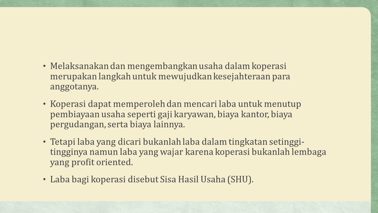Sisa Hasil Usaha (SHU) SHU adalah pendapatan koperasi yang diperoleh dalam satu buku dikurangi dengan biaya penyusutan dan kewajiban lainnya termasuk pajak dalam buku yang bersangkutan.
