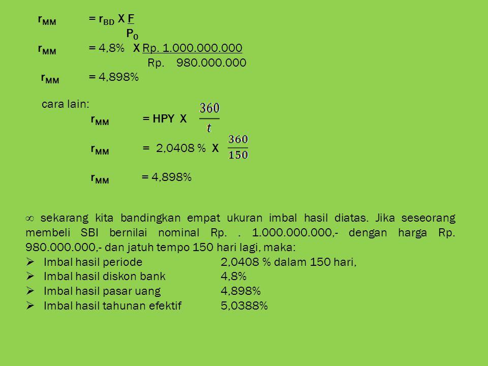 r MM = r BD X F P 0 r MM = 4,8% X Rp. 1.000.000.000 Rp. 980.000.000 r MM = 4,898% cara lain: r MM = HPY X r MM = 2,0408 % X r MM = 4,898% ∞ sekarang k
