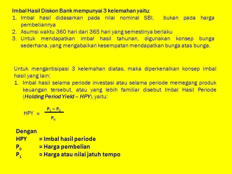 Imbal Hasil Diskon Bank mempunyai 3 kelemahan yaitu: 1.Imbal hasil didasarkan pada nilai nominal SBI, bukan pada harga pembeliannya 2.Asumsi waktu 360