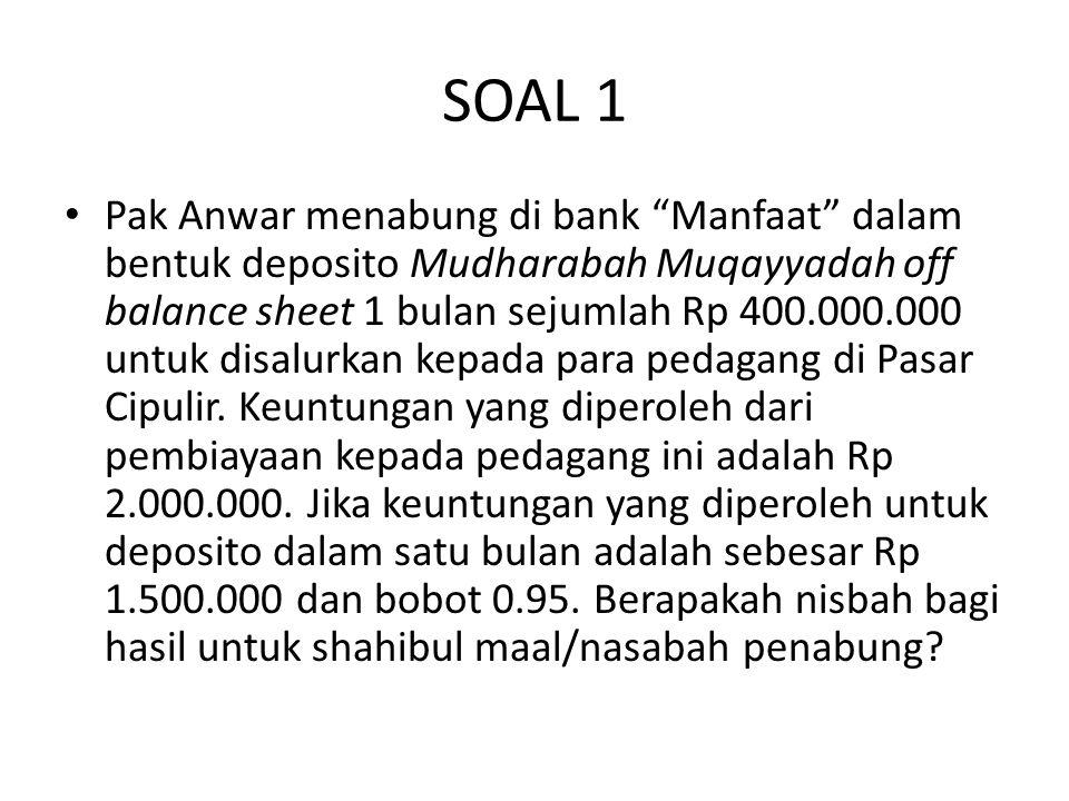 """SOAL 1 Pak Anwar menabung di bank """"Manfaat"""" dalam bentuk deposito Mudharabah Muqayyadah off balance sheet 1 bulan sejumlah Rp 400.000.000 untuk disalu"""
