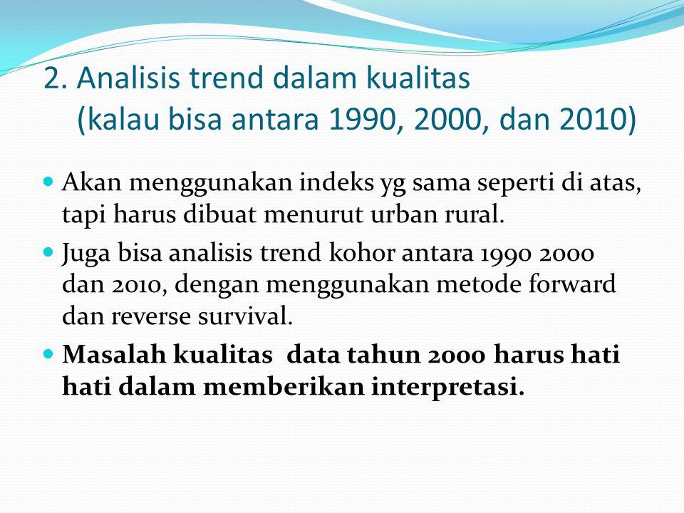 2. Analisis trend dalam kualitas (kalau bisa antara 1990, 2000, dan 2010) Akan menggunakan indeks yg sama seperti di atas, tapi harus dibuat menurut u