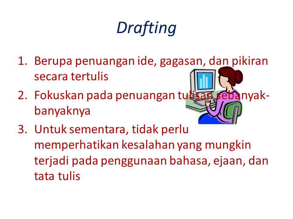 Drafting 1.Berupa penuangan ide, gagasan, dan pikiran secara tertulis 2.Fokuskan pada penuangan tulisan sebanyak- banyaknya 3.Untuk sementara, tidak p