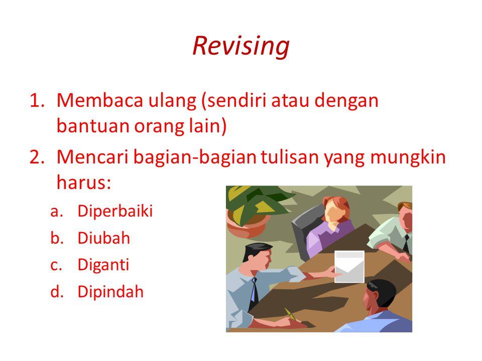 Revising 1.Membaca ulang (sendiri atau dengan bantuan orang lain) 2.Mencari bagian-bagian tulisan yang mungkin harus: a.Diperbaiki b.Diubah c.Diganti