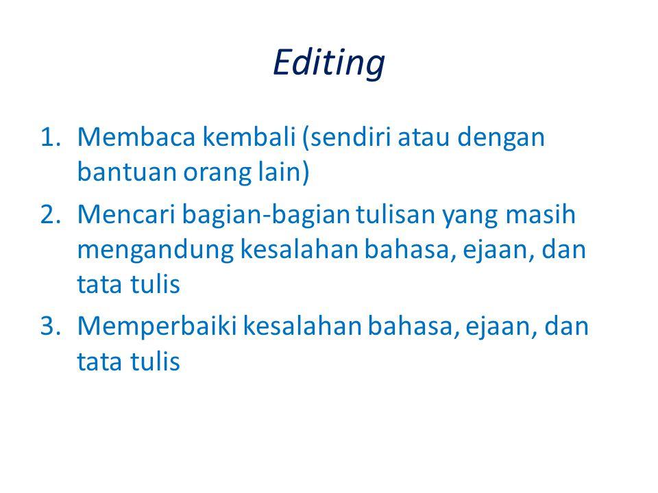 Editing 1.Membaca kembali (sendiri atau dengan bantuan orang lain) 2.Mencari bagian-bagian tulisan yang masih mengandung kesalahan bahasa, ejaan, dan