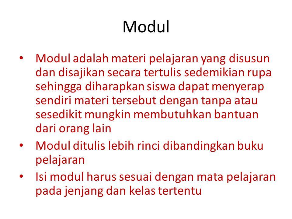 Modul Modul adalah materi pelajaran yang disusun dan disajikan secara tertulis sedemikian rupa sehingga diharapkan siswa dapat menyerap sendiri materi