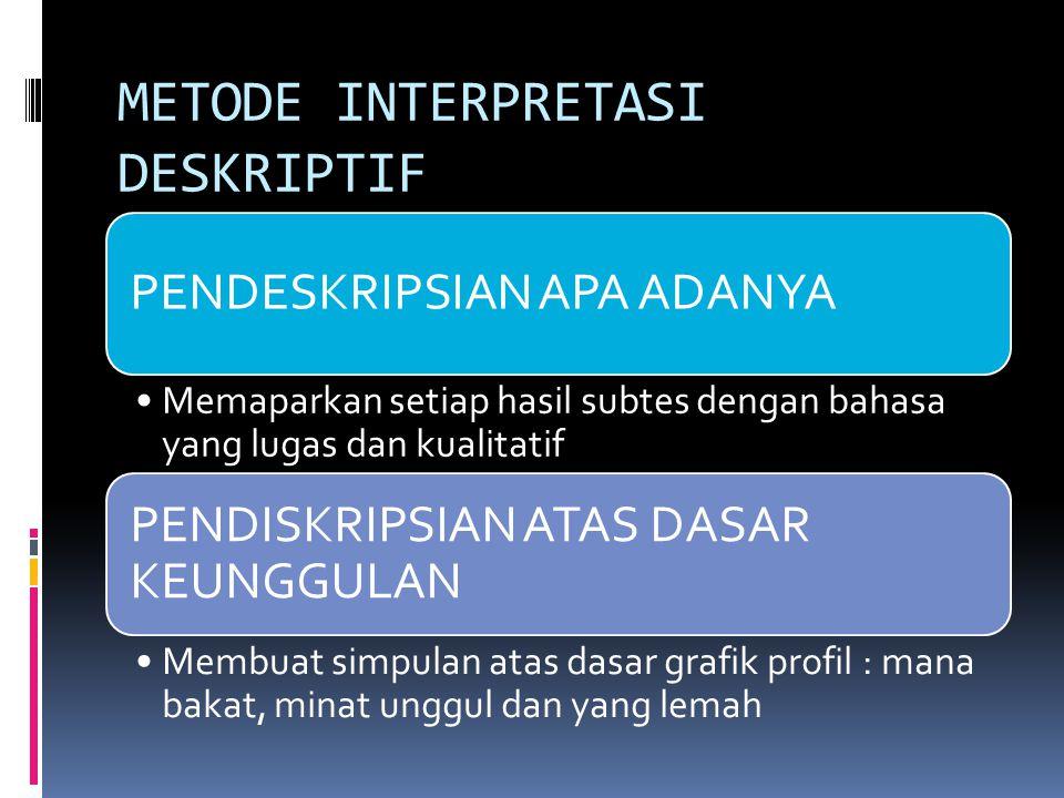 METODE INTERPRETASI DESKRIPTIF PENDESKRIPSIAN APA ADANYA Memaparkan setiap hasil subtes dengan bahasa yang lugas dan kualitatif PENDISKRIPSIAN ATAS DA
