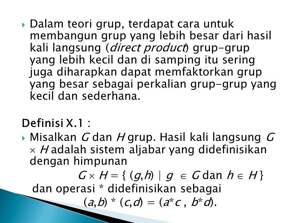  Dalam teori grup, terdapat cara untuk membangun grup yang lebih besar dari hasil kali langsung (direct product) grup-grup yang lebih kecil dan di sa