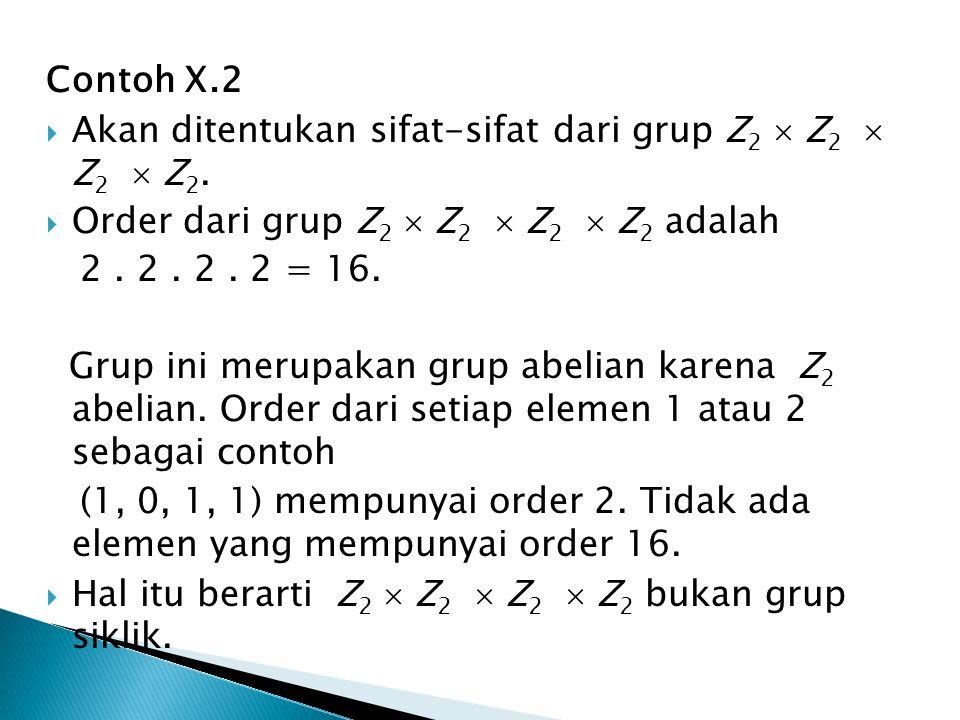 Contoh X.2  Akan ditentukan sifat-sifat dari grup Z 2  Z 2  Z 2  Z 2.  Order dari grup Z 2  Z 2  Z 2  Z 2 adalah 2. 2. 2. 2 = 16. Grup ini mer