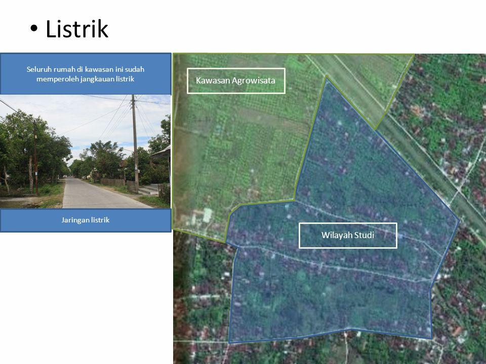 Listrik Kawasan Agrowisata Wilayah Studi Seluruh rumah di kawasan ini sudah memperoleh jangkauan listrik Jaringan listrik