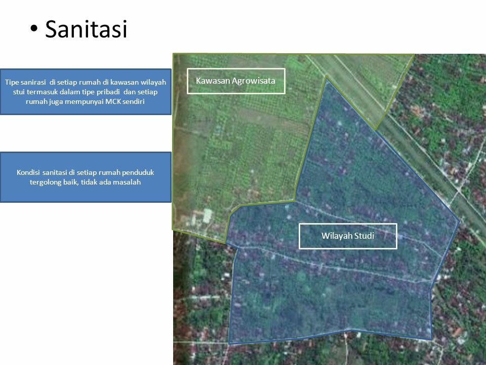 Sanitasi Kawasan Agrowisata Wilayah Studi Kondisi sanitasi di setiap rumah penduduk tergolong baik, tidak ada masalah Tipe sanirasi di setiap rumah di kawasan wilayah stui termasuk dalam tipe pribadi dan setiap rumah juga mempunyai MCK sendiri