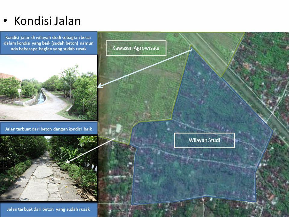 Kawasan Agrowisata Wilayah Studi Kondisi Jalan Kondisi jalan di wilayah studi sebagian besar dalam kondisi yang baik (sudah beton) namun ada beberapa