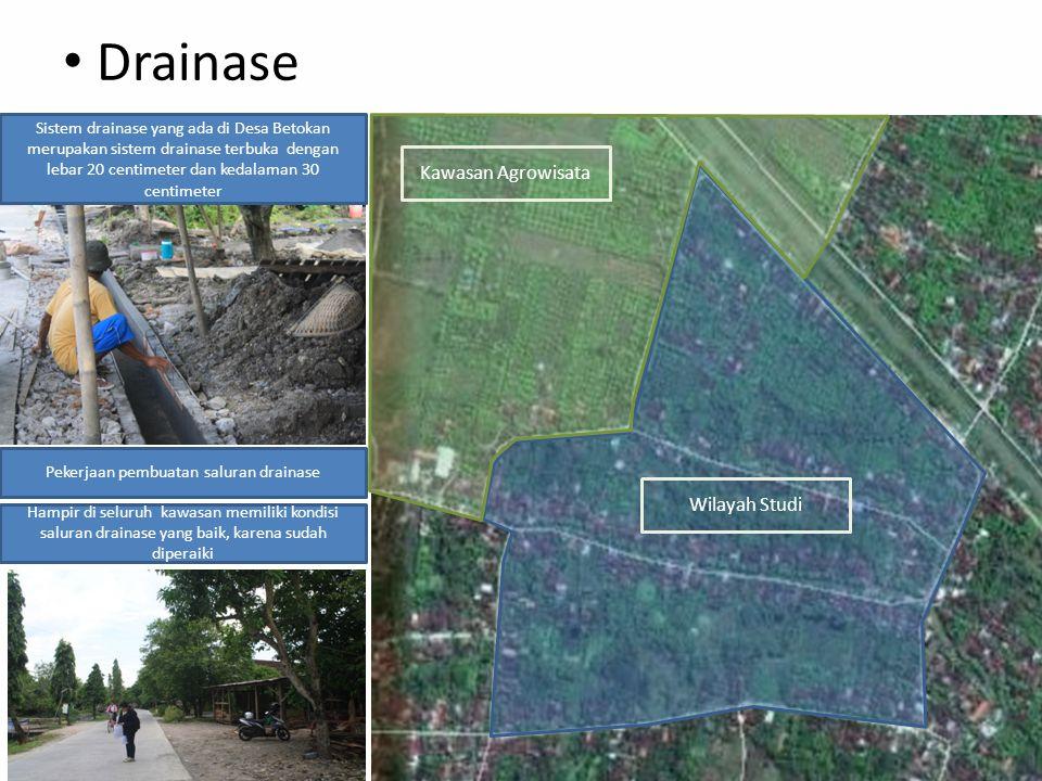Drainase Kawasan Agrowisata Wilayah Studi Sistem drainase yang ada di Desa Betokan merupakan sistem drainase terbuka dengan lebar 20 centimeter dan kedalaman 30 centimeter Pekerjaan pembuatan saluran drainase Hampir di seluruh kawasan memiliki kondisi saluran drainase yang baik, karena sudah diperaiki
