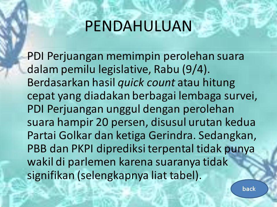 PENDAHULUAN PDI Perjuangan memimpin perolehan suara dalam pemilu legislative, Rabu (9/4).