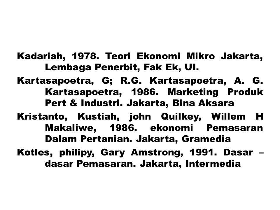 Kadariah, 1978. Teori Ekonomi Mikro Jakarta, Lembaga Penerbit, Fak Ek, UI. Kartasapoetra, G; R.G. Kartasapoetra, A. G. Kartasapoetra, 1986. Marketing