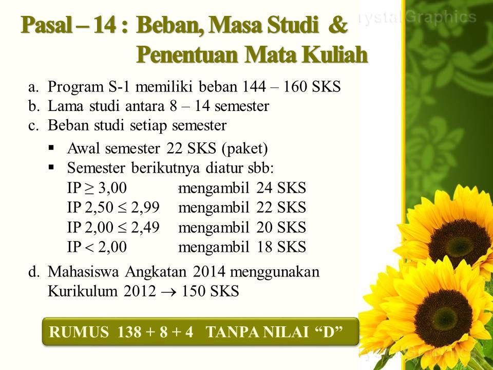 . a.Program S-1 memiliki beban 144 – 160 SKS b.Lama studi antara 8 – 14 semester c.Beban studi setiap semester  Awal semester 22 SKS (paket)  Semest