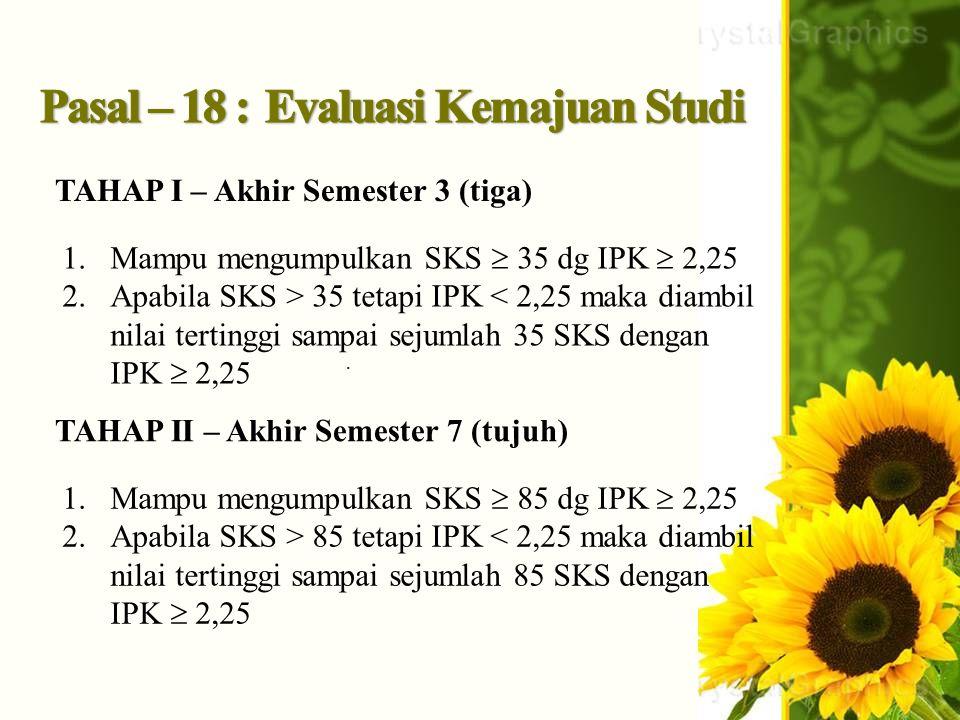 . TAHAP I – Akhir Semester 3 (tiga) 1.Mampu mengumpulkan SKS  35 dg IPK  2,25 2.Apabila SKS > 35 tetapi IPK < 2,25 maka diambil nilai tertinggi samp