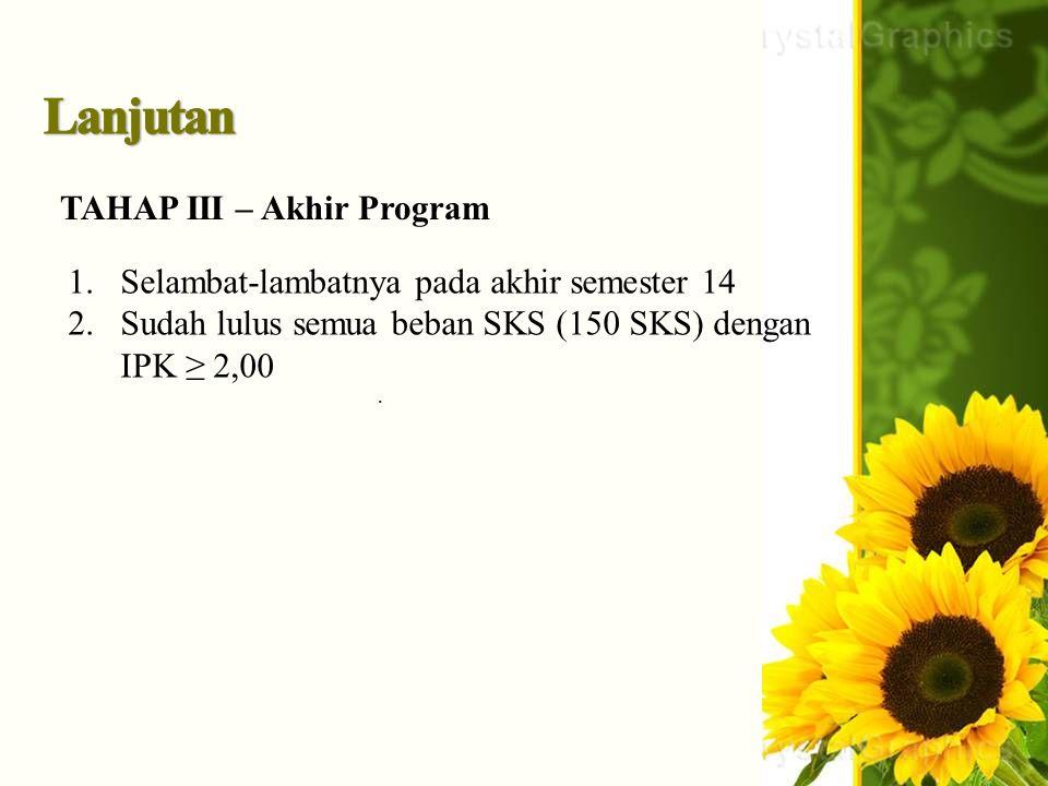 . TAHAP III – Akhir Program 1.Selambat-lambatnya pada akhir semester 14 2.Sudah lulus semua beban SKS (150 SKS) dengan IPK ≥ 2,00