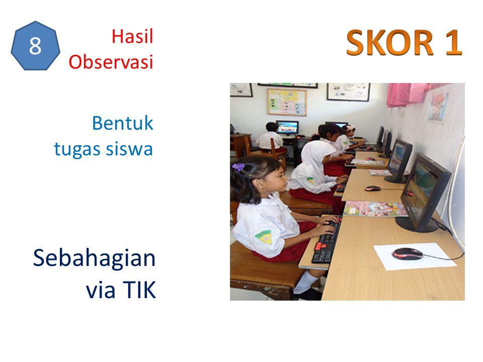 Hasil Observasi 8 Bentuk tugas siswa Sebahagian via TIK