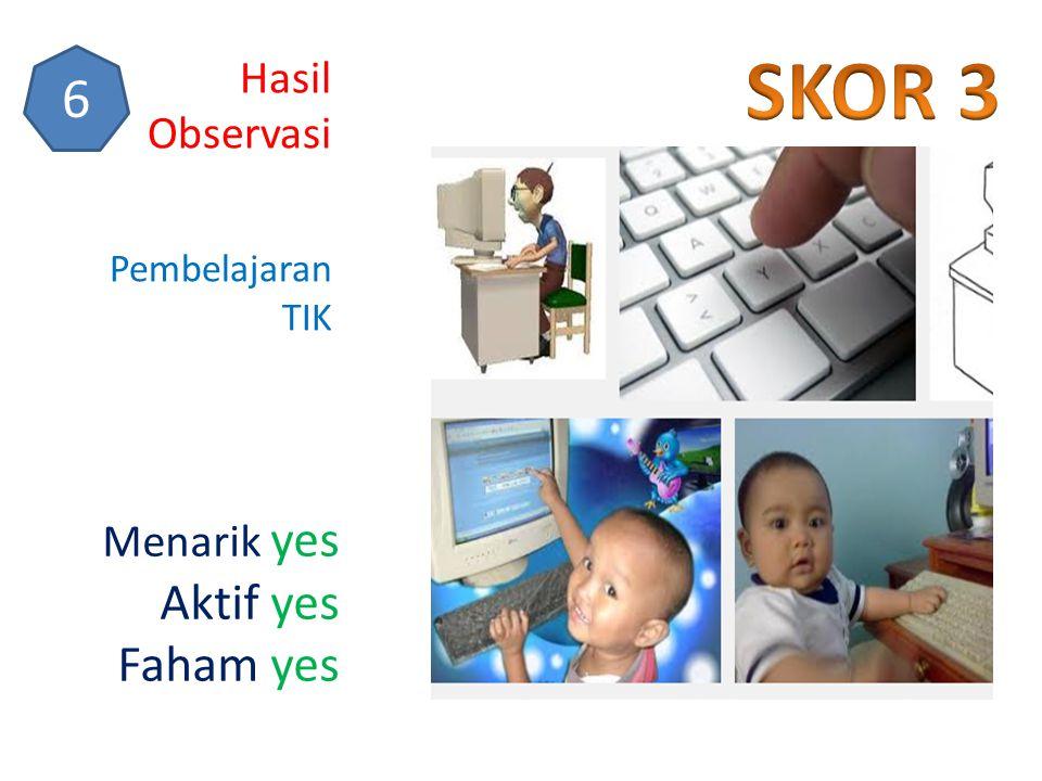 Hasil Observasi 6 Pembelajaran TIK Menarik yes Aktif yes Faham yes