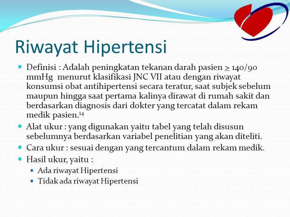 Riwayat Hipertensi Definisi : Adalah peningkatan tekanan darah pasien > 140/90 mmHg menurut klasifikasi JNC VII atau dengan riwayat konsumsi obat anti