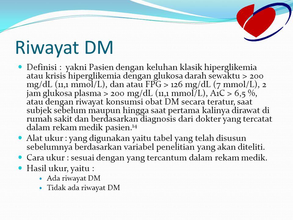 Riwayat DM Definisi : yakni Pasien dengan keluhan klasik hiperglikemia atau krisis hiperglikemia dengan glukosa darah sewaktu > 200 mg/dL (11,1 mmol/L