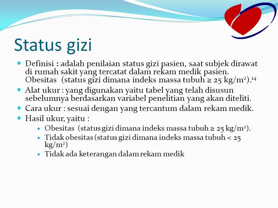 Status gizi Definisi : adalah penilaian status gizi pasien, saat subjek dirawat di rumah sakit yang tercatat dalam rekam medik pasien. Obesitas (statu