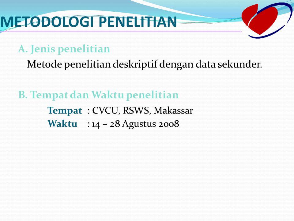 METODOLOGI PENELITIAN A. Jenis penelitian Metode penelitian deskriptif dengan data sekunder. B. Tempat dan Waktu penelitian Tempat : CVCU, RSWS, Makas