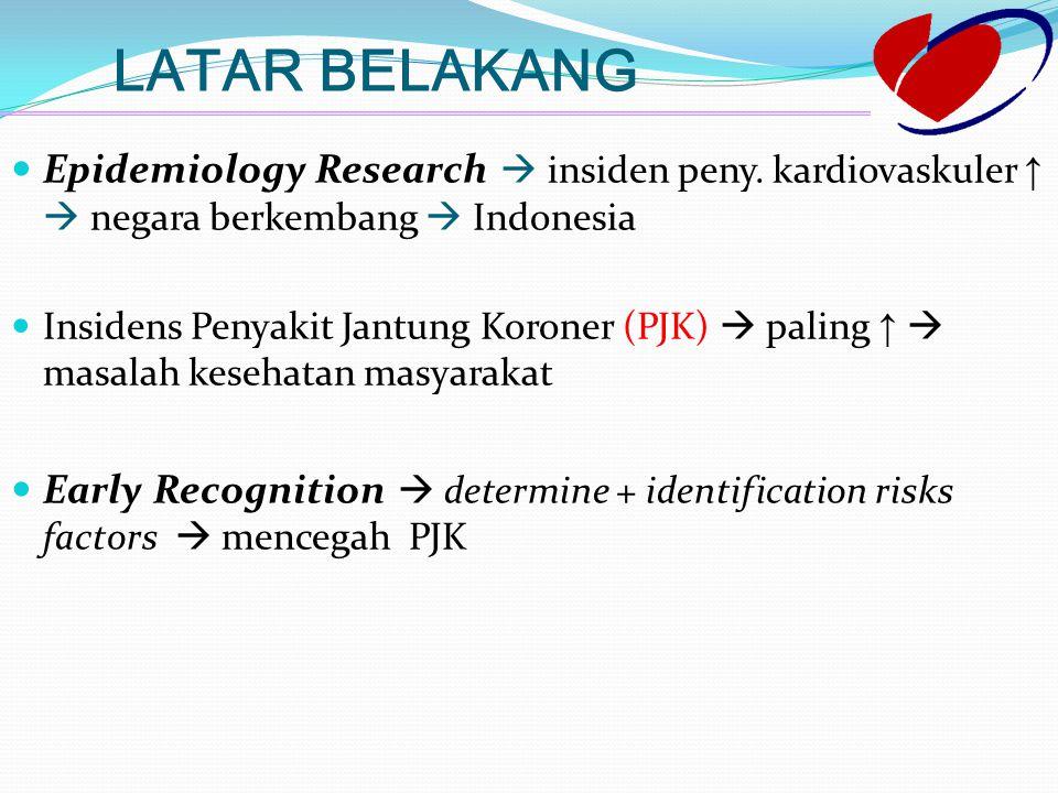 LATAR BELAKANG Epidemiology Research   Indonesia Epidemiology Research  insiden peny. kardiovaskuler ↑  negara berkembang  Indonesia (PJK) Insid