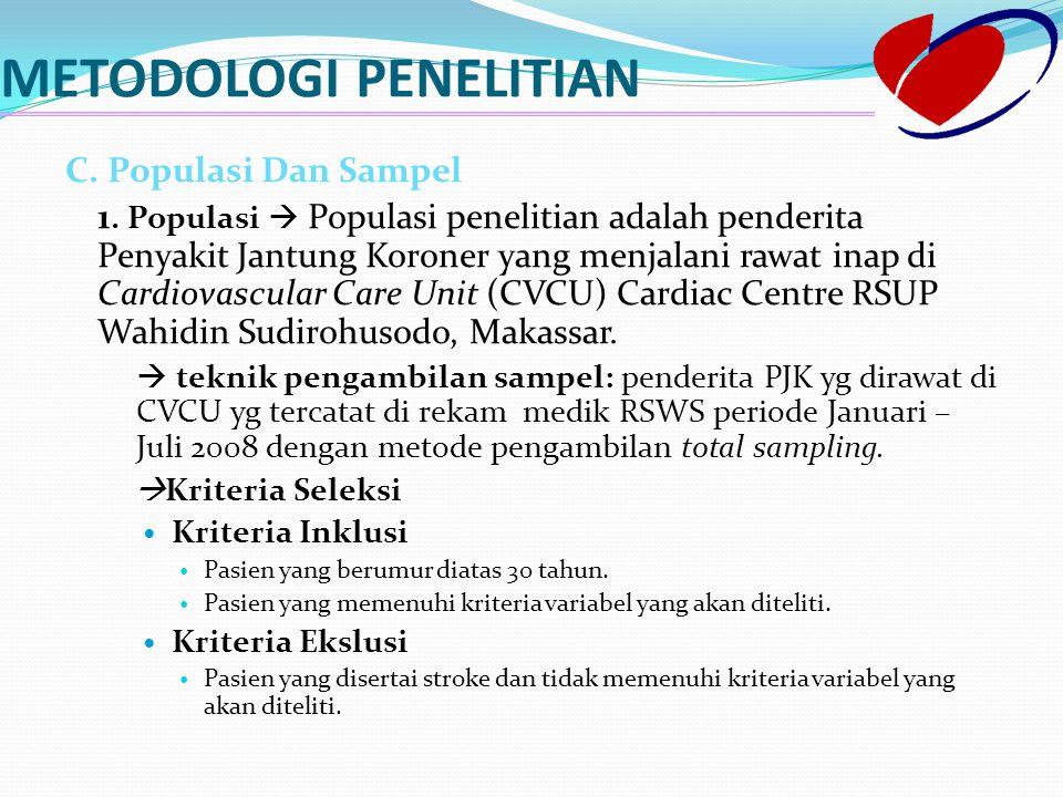 METODOLOGI PENELITIAN C. Populasi Dan Sampel 1. Populasi  Populasi penelitian adalah penderita Penyakit Jantung Koroner yang menjalani rawat inap di