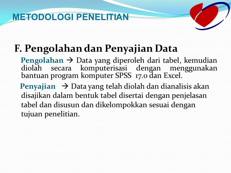 F. Pengolahan dan Penyajian Data Pengolahan  Data yang diperoleh dari tabel, kemudian diolah secara komputerisasi dengan menggunakan bantuan program