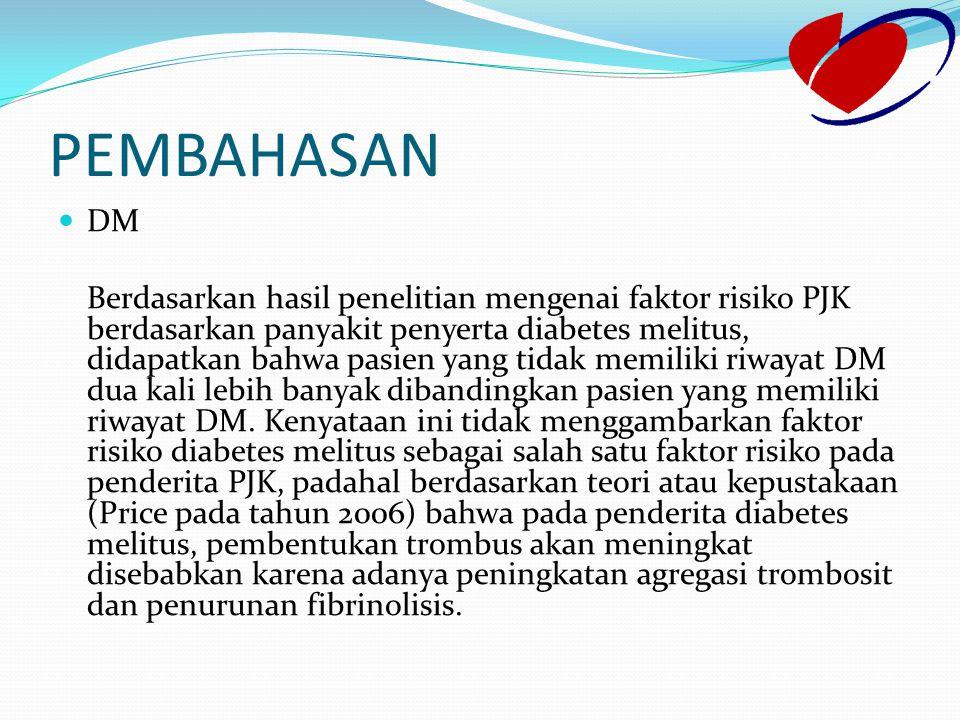 PEMBAHASAN DM Berdasarkan hasil penelitian mengenai faktor risiko PJK berdasarkan panyakit penyerta diabetes melitus, didapatkan bahwa pasien yang tid