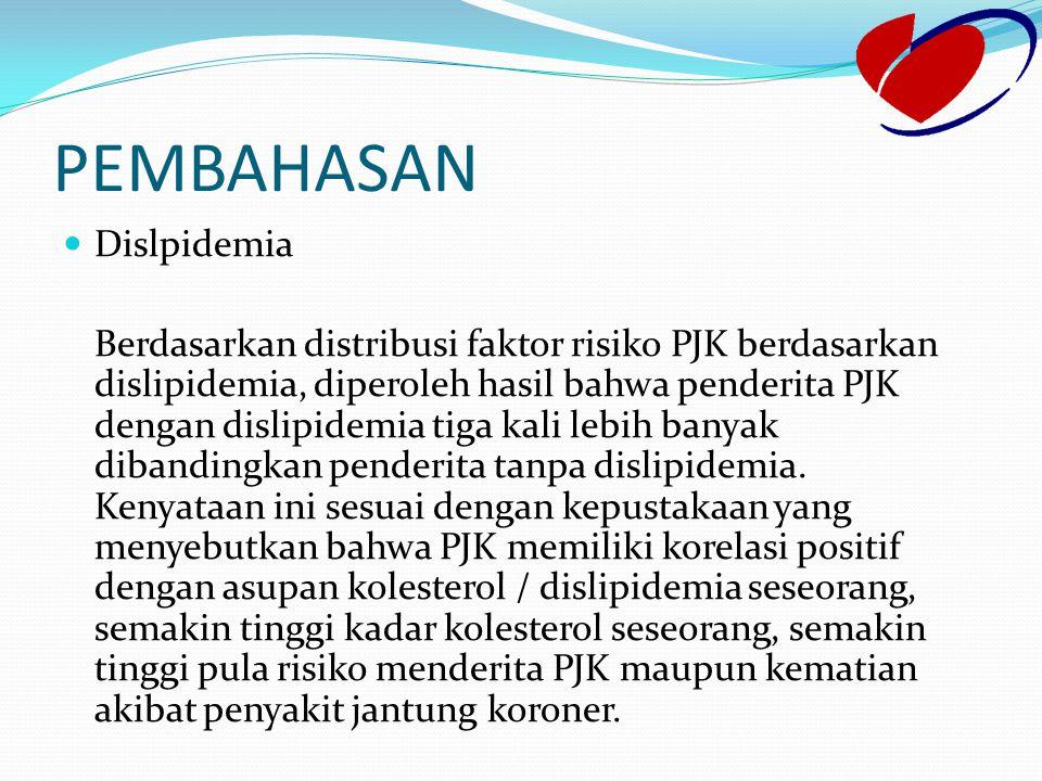 PEMBAHASAN Dislpidemia Berdasarkan distribusi faktor risiko PJK berdasarkan dislipidemia, diperoleh hasil bahwa penderita PJK dengan dislipidemia tiga
