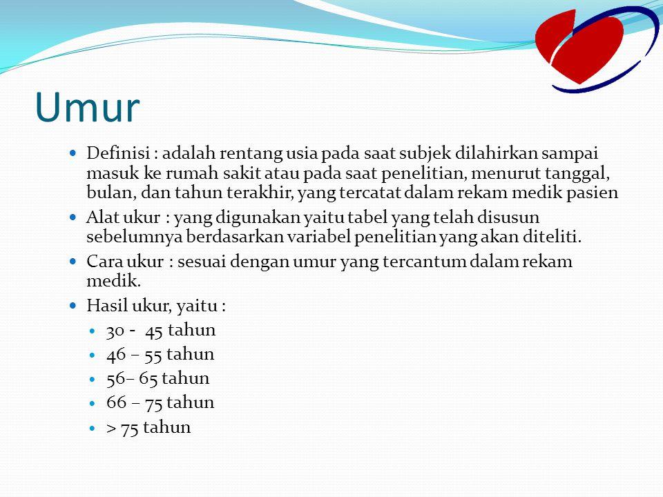 Umur Definisi : adalah rentang usia pada saat subjek dilahirkan sampai masuk ke rumah sakit atau pada saat penelitian, menurut tanggal, bulan, dan tah