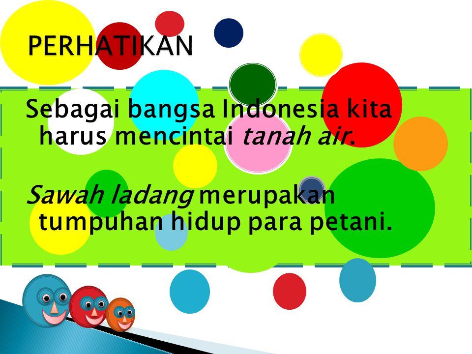 Sebagai bangsa Indonesia kita harus mencintai tanah air. Sawah ladang merupakan tumpuhan hidup para petani.