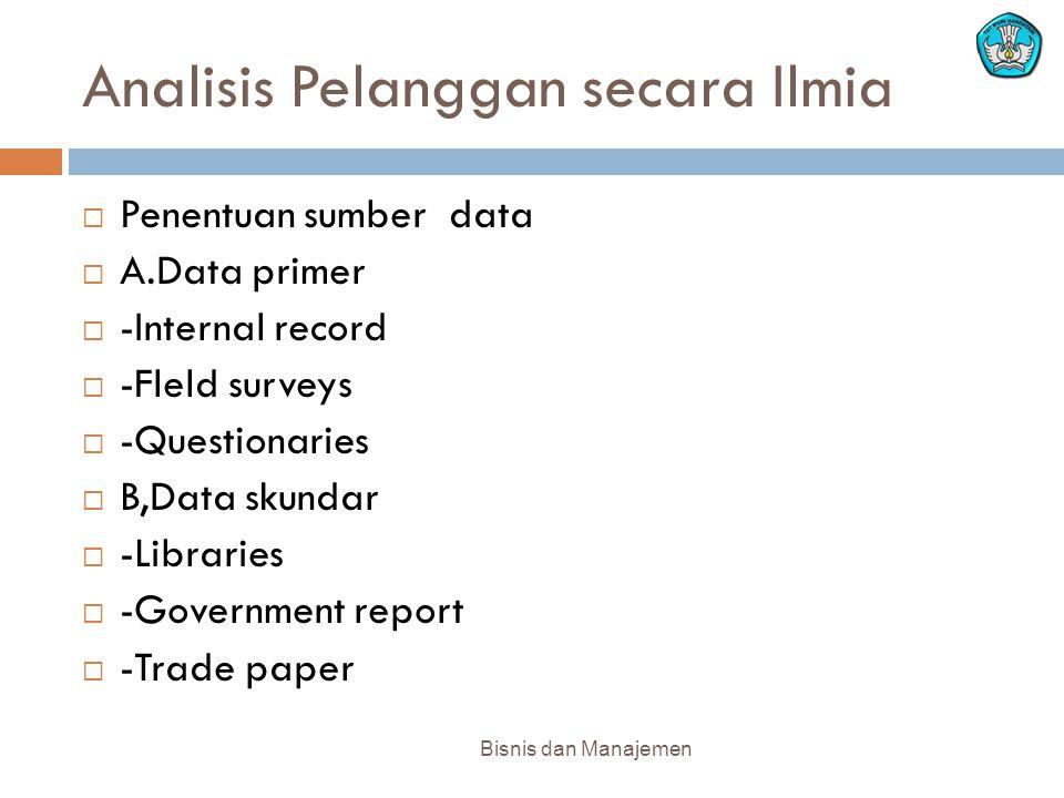 Analisis Pelanggan secara Ilmia Bisnis dan Manajemen  Penentuan sumber data  A.Data primer  -Internal record  -Fleld surveys  -Questionaries  B,