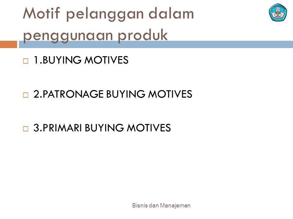 Motif pelanggan dalam penggunaan produk Bisnis dan Manajemen  1.BUYING MOTIVES  2.PATRONAGE BUYING MOTIVES  3.PRIMARI BUYING MOTIVES