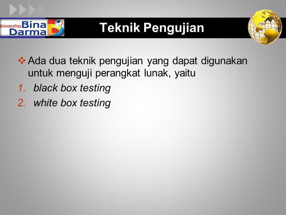 LOGO Teknik Pengujian  Ada dua teknik pengujian yang dapat digunakan untuk menguji perangkat lunak, yaitu 1.black box testing 2.white box testing