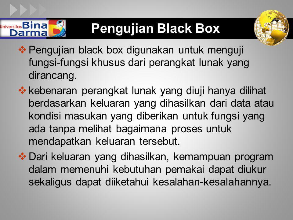 LOGO Pengujian Black Box  Pengujian black box digunakan untuk menguji fungsi-fungsi khusus dari perangkat lunak yang dirancang.  kebenaran perangkat