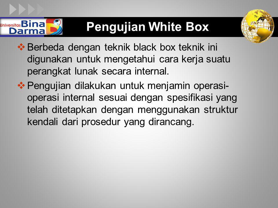 LOGO Pengujian White Box  Berbeda dengan teknik black box teknik ini digunakan untuk mengetahui cara kerja suatu perangkat lunak secara internal.  P