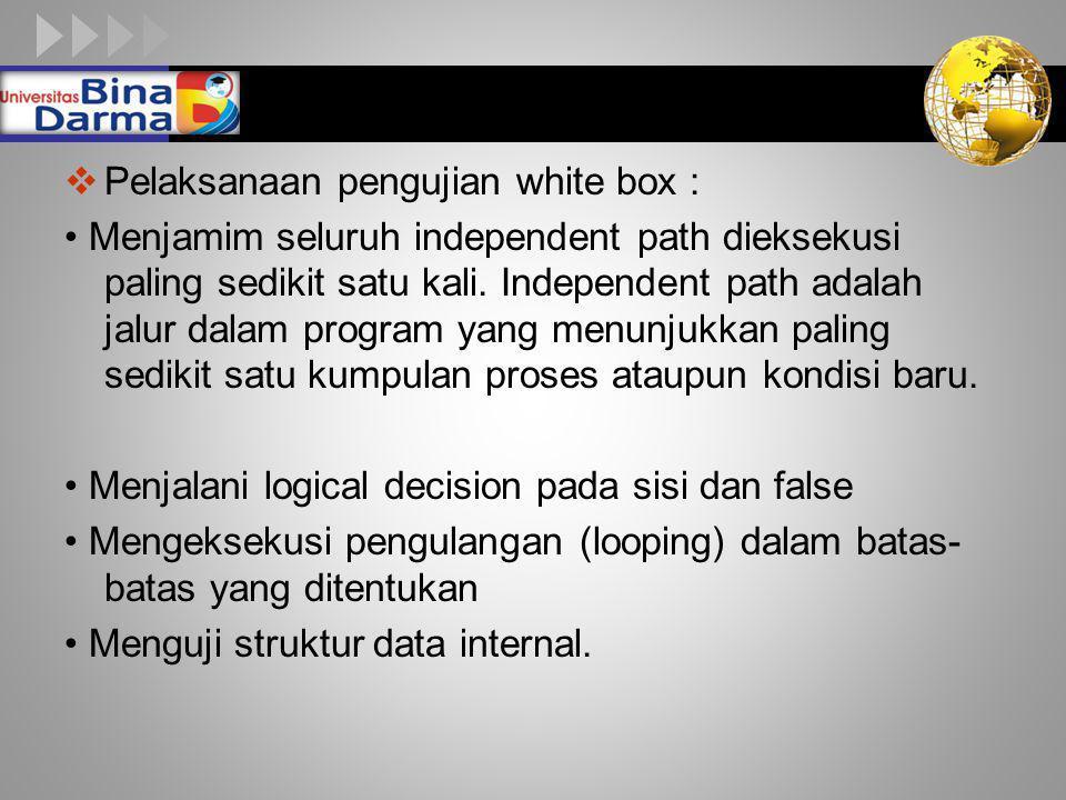 LOGO  Pelaksanaan pengujian white box : Menjamim seluruh independent path dieksekusi paling sedikit satu kali. Independent path adalah jalur dalam pr