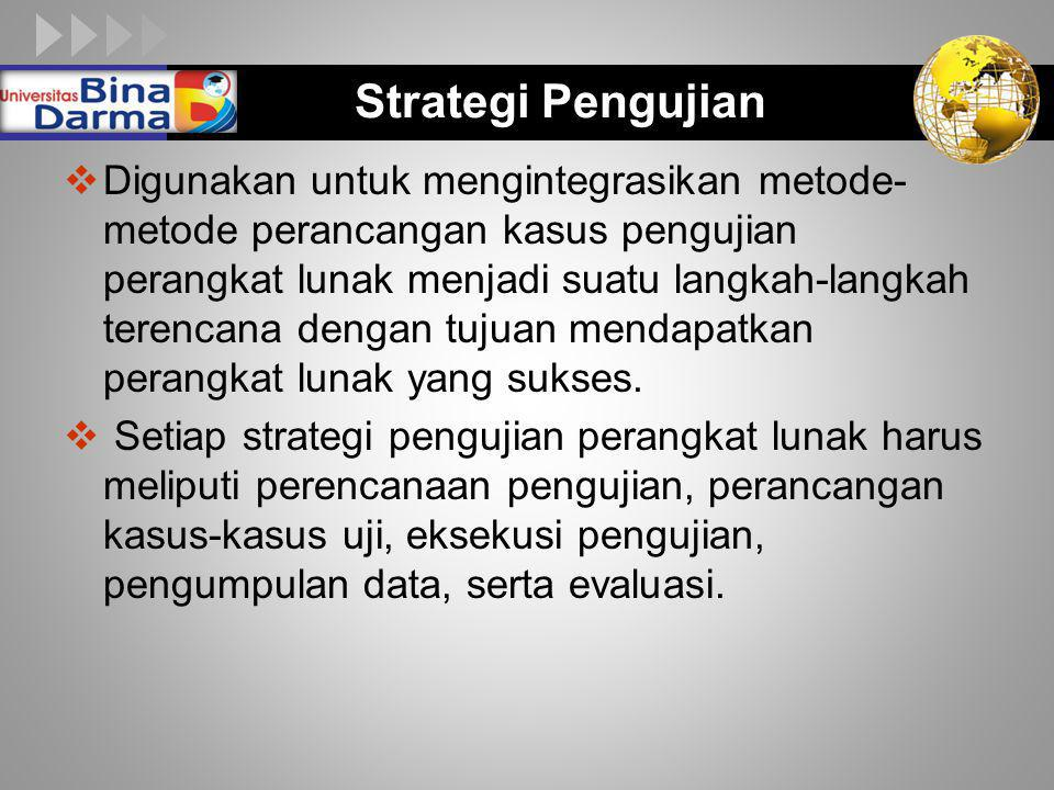 LOGO Strategi Pengujian  Digunakan untuk mengintegrasikan metode- metode perancangan kasus pengujian perangkat lunak menjadi suatu langkah-langkah te
