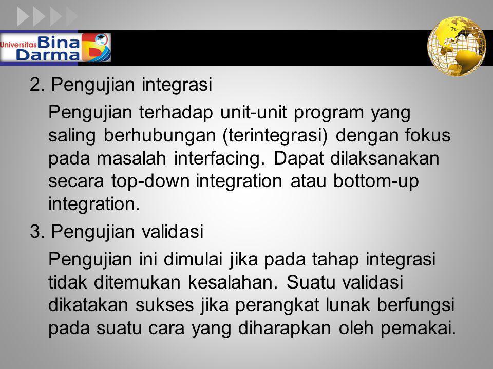 LOGO 2. Pengujian integrasi Pengujian terhadap unit-unit program yang saling berhubungan (terintegrasi) dengan fokus pada masalah interfacing. Dapat d