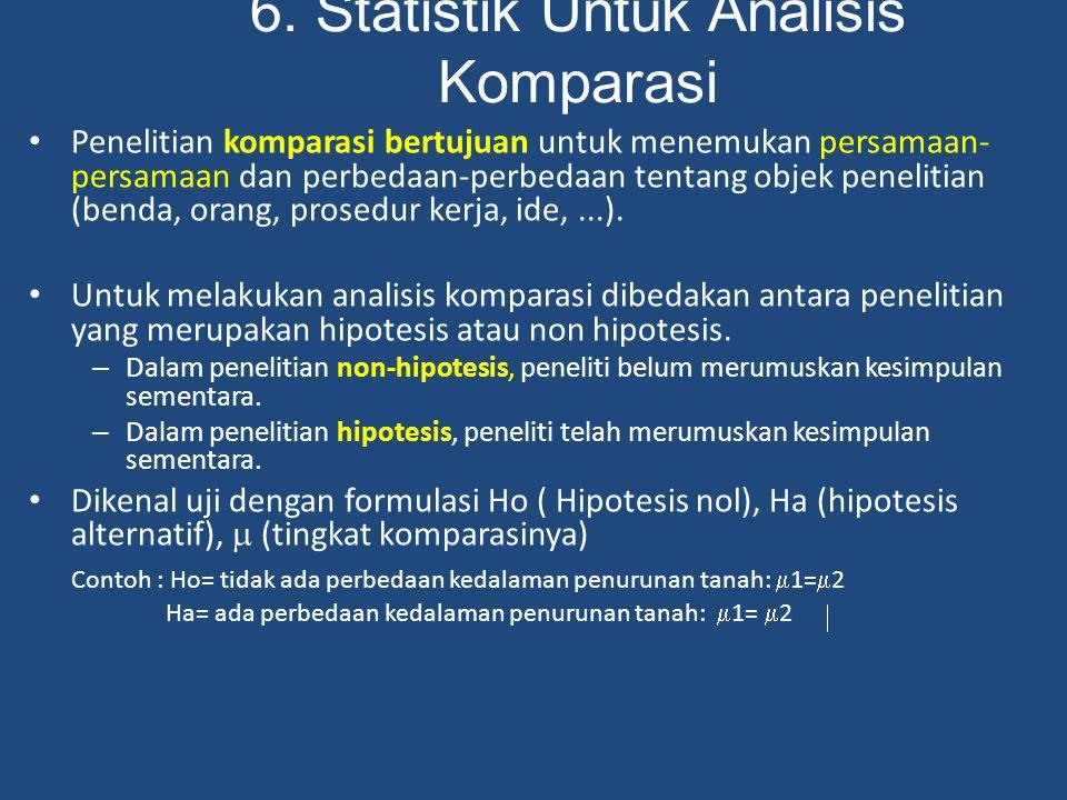 6. Statistik Untuk Analisis Komparasi Penelitian komparasi bertujuan untuk menemukan persamaan- persamaan dan perbedaan-perbedaan tentang objek peneli